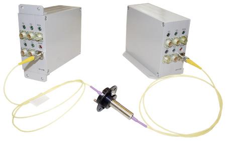 Многоканальная волоконно-оптическая линия связи на базе вращающегося волоконно-оптического соединителя, блоков МЛ-4/100 и ДМЛ-4/100 для работы в жёстких условиях